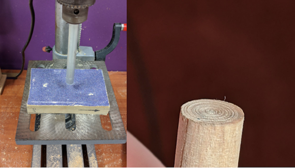 Using only a drill and sandpaper to find a centerpoint? Genius!