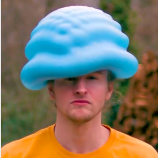 My, what a jaunty water balloon hat you're wearing.