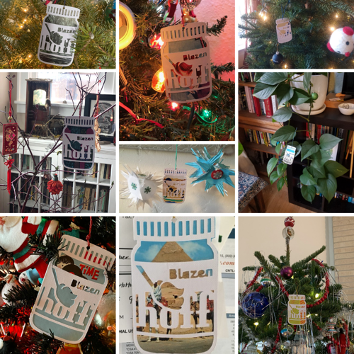 """Blazenhoff Industries holiday card/ornament """"in the wild"""" (2020) Made using vintage album covers, postcards, and Marimekko postcards"""