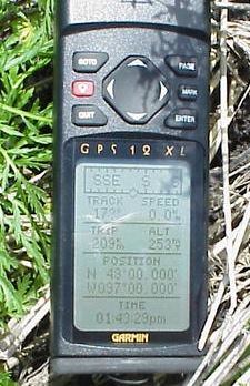 GPS showing detailed position
